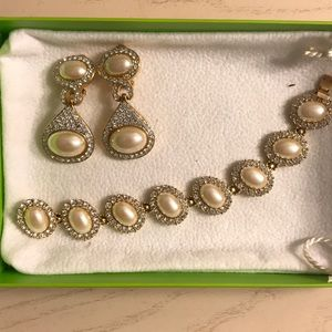 Jewelry - Pearl and Diamond Necklace and Earring Set